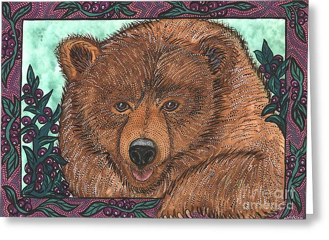Huckleberry Paintings Greeting Cards - Huckleberry Bear Greeting Card by Melissa Cole