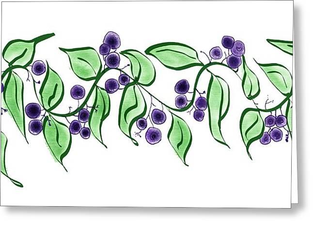 Huckleberry Digital Art Greeting Cards - Huckleberry branch Greeting Card by Debra Baldwin