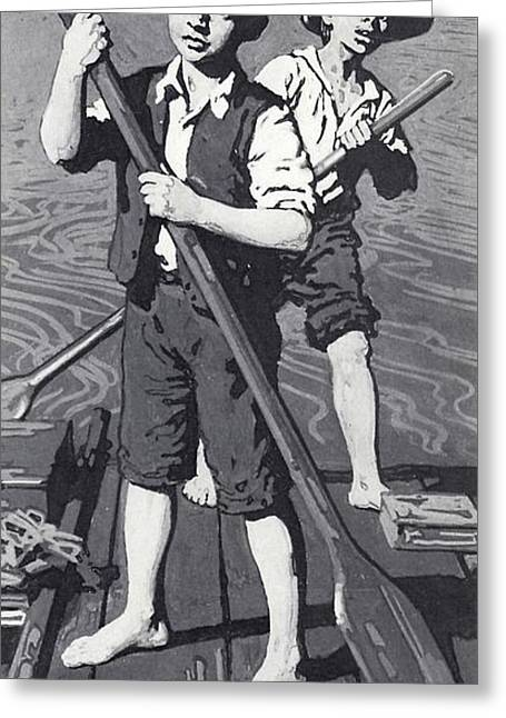 Tom Boy Greeting Cards - Huckleberry Finn And Tom Sawyer Litho Greeting Card by English School