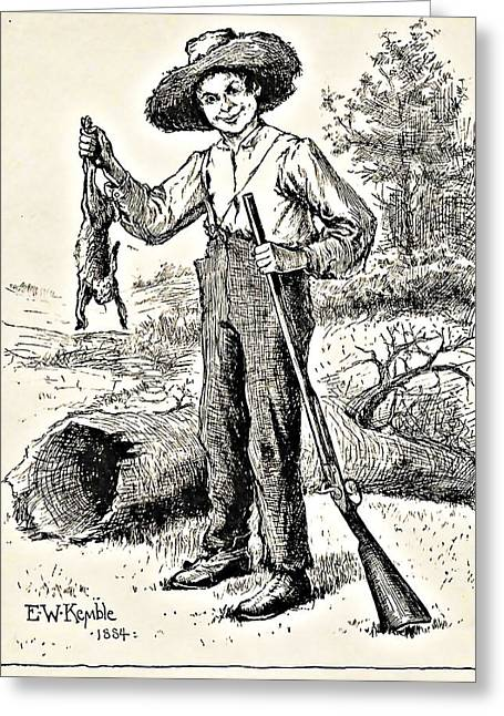 Huckleberry Drawings Greeting Cards - Huckleberry Finn Illustration Drawing Print Greeting Card by