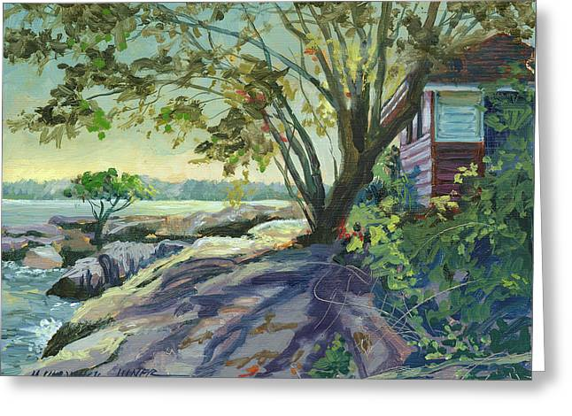 Huckleberry Paintings Greeting Cards - Huckleberry Island Backlight Greeting Card by Marguerite Chadwick-Juner
