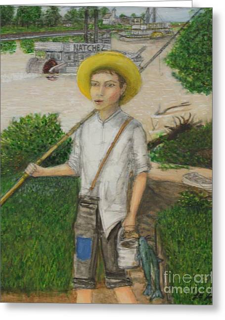 Huckleberry Paintings Greeting Cards - Huckleberry Finn Greeting Card by Larry Lamb