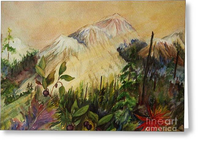 Huckleberry Paintings Greeting Cards - Huckleberry Mtn Greeting Card by Mary Tevebaugh