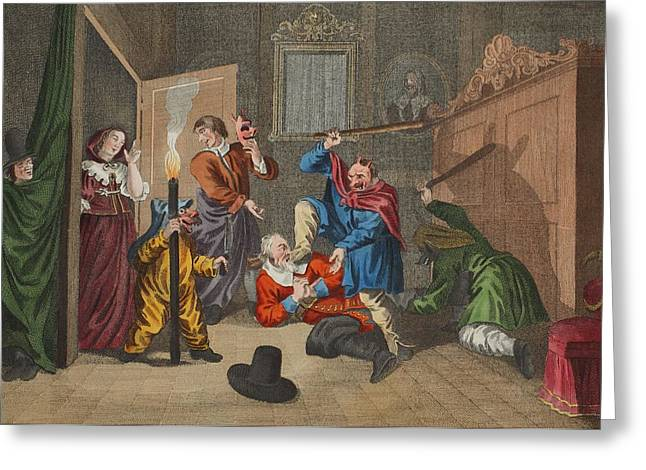 Poem Greeting Cards - Hudibras Catechizd, From Hudibras Greeting Card by William Hogarth