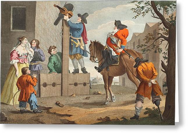 Knighting Drawings Greeting Cards - Hudibras Leading Crowdero In Triumph Greeting Card by William Hogarth