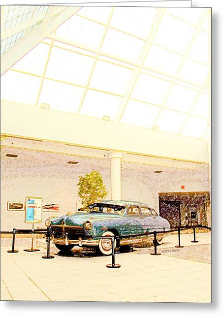 Manufacturing Greeting Cards - Hudson Car Under Skylight Greeting Card by Design Turnpike