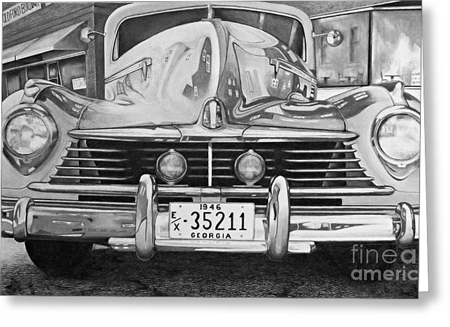 Headlight Drawings Greeting Cards - Hudson Dreams in Black and White Greeting Card by David Neace