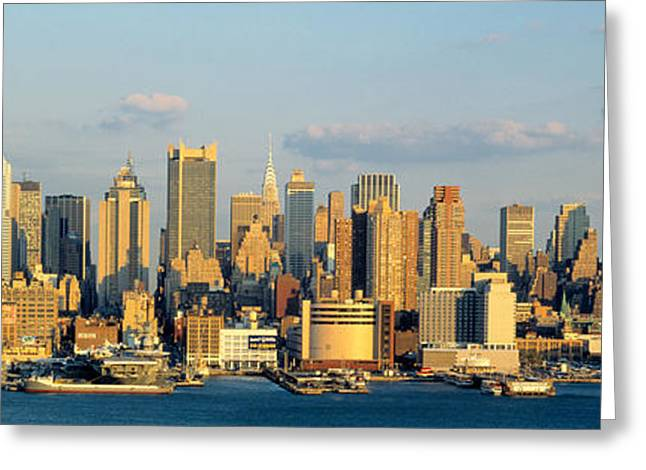 Nyc Cityscape Greeting Cards - Hudson River, City Skyline, Nyc, New Greeting Card by Panoramic Images