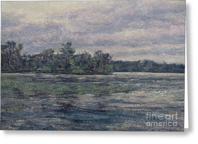 Muted Palette Greeting Cards - Hudson River Dusk Greeting Card by Gregory Arnett