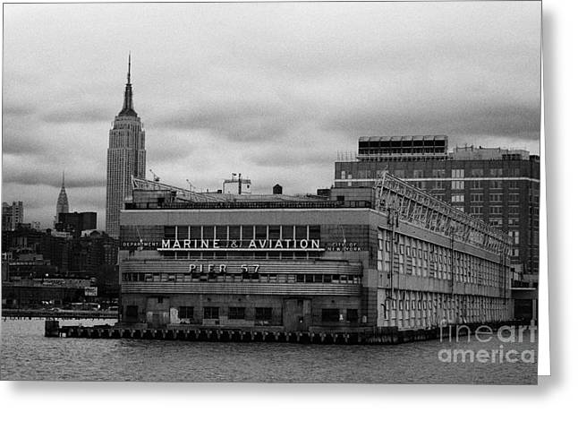 hudson river marine aviation pier 57 new york city Greeting Card by Joe Fox
