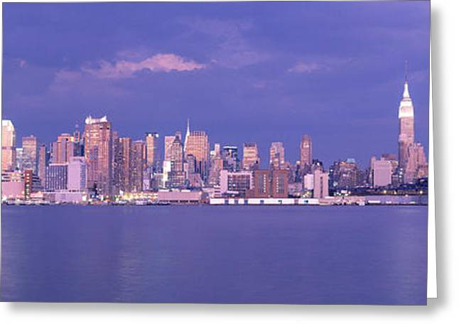 Pink Clouds Greeting Cards - Hudson River, Nyc, New York City, New Greeting Card by Panoramic Images
