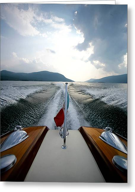 New York Vista Greeting Cards - Hudson River Riva Greeting Card by Steven Lapkin