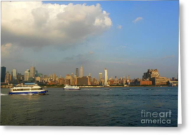 Hudson River Tugboat Greeting Cards - Hudson River Traffic Greeting Card by Avis  Noelle