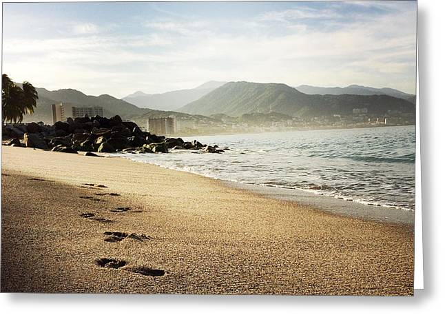 Footprints In The Sand Greeting Cards - Huellas Greeting Card by Natasha Marco