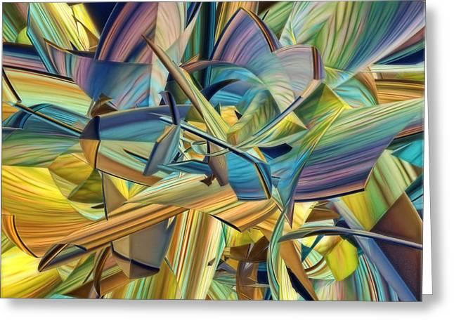Geometric Digital Art Greeting Cards - Hues and The Blues Greeting Card by Deborah Benoit