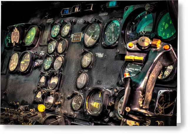 Gauge Greeting Cards - Huey Instrument Panel Greeting Card by David Morefield