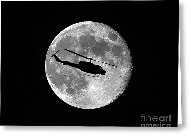 Helicopter Photographs Greeting Cards - Huey Moon Greeting Card by Al Powell Photography USA