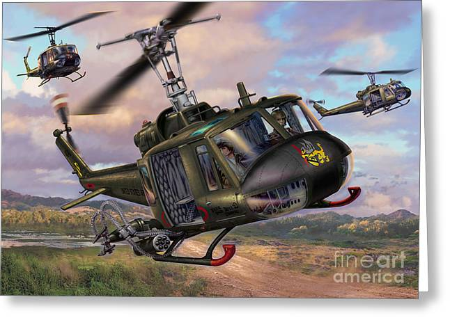 Bell Greeting Cards - Hueys In The LZ Greeting Card by Stu Shepherd