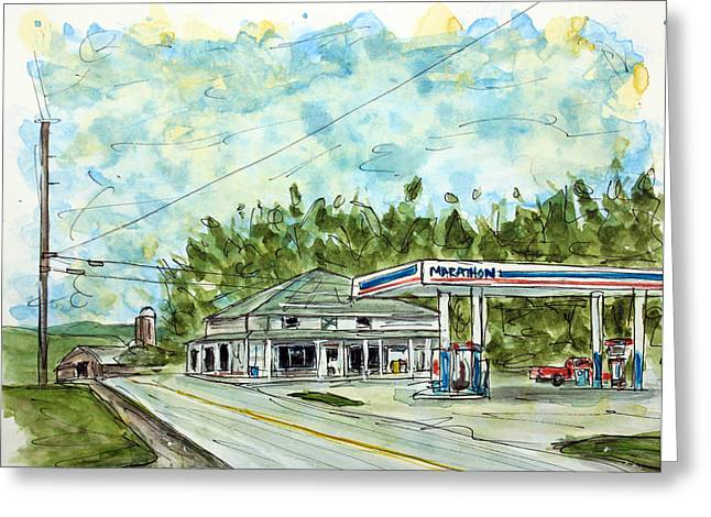 Tim Ross Greeting Cards - Huffs Market Greeting Card by Tim Ross