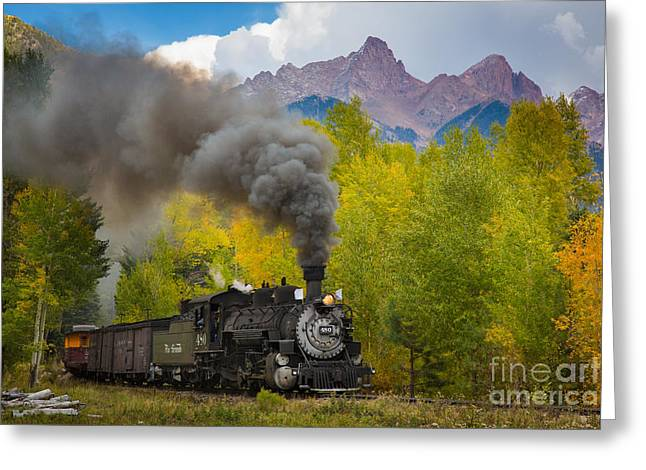 Railway Locomotive Greeting Cards - Huffing and Puffing Greeting Card by Inge Johnsson