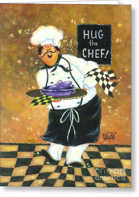 Vickie Wade Paintings Greeting Cards - Hug the Chef Greeting Card by Vickie Wade