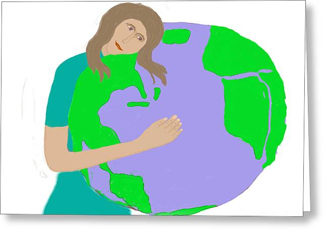 Hug The Planet Greeting Card by Fred Jinkins
