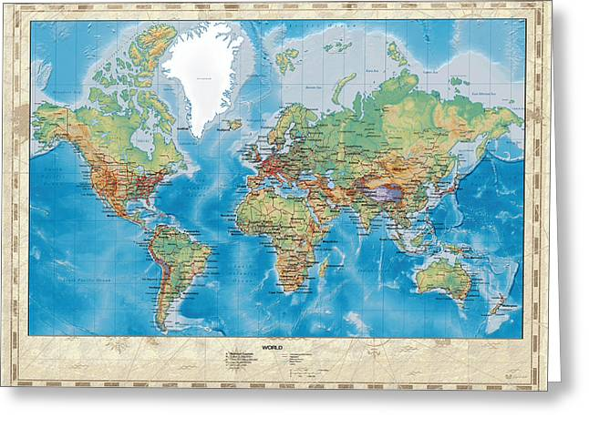 Relief Map Greeting Cards - Huge Hi Res Mercator Projection Physical and Political Relief World Map Greeting Card by Serge Averbukh