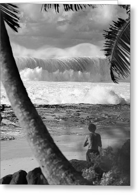 Big Surf Greeting Cards - Huge surf in Hawaii. Greeting Card by Sean Davey