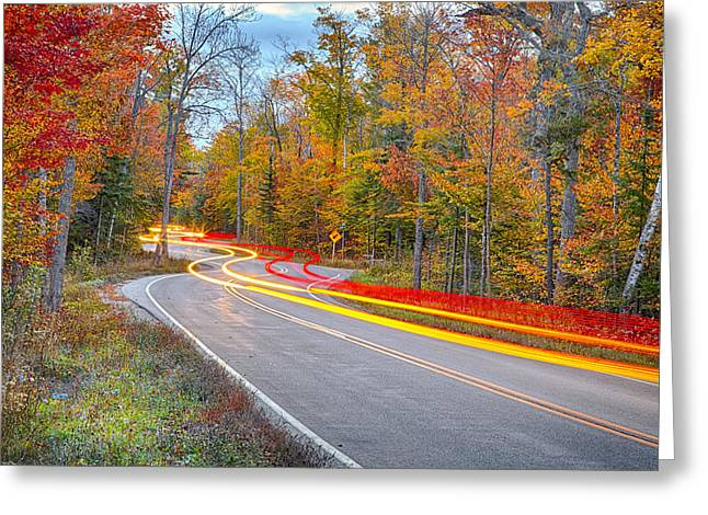 Tail Light Greeting Cards - Hugging the Curves Greeting Card by Adam Romanowicz