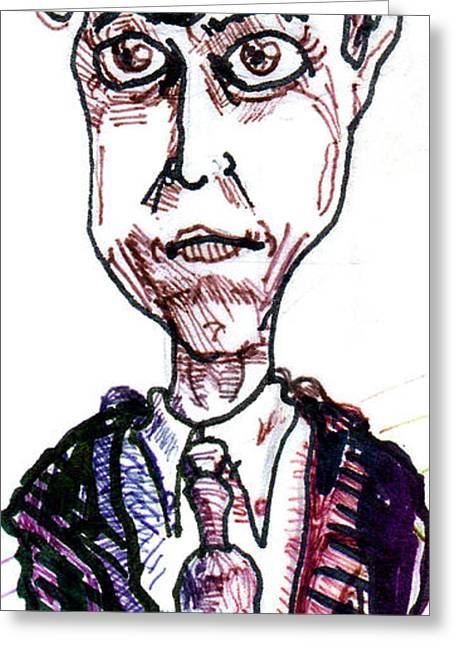 Pen And Ink Drawing Greeting Cards - Hugh Grant Greeting Card by Del Gaizo