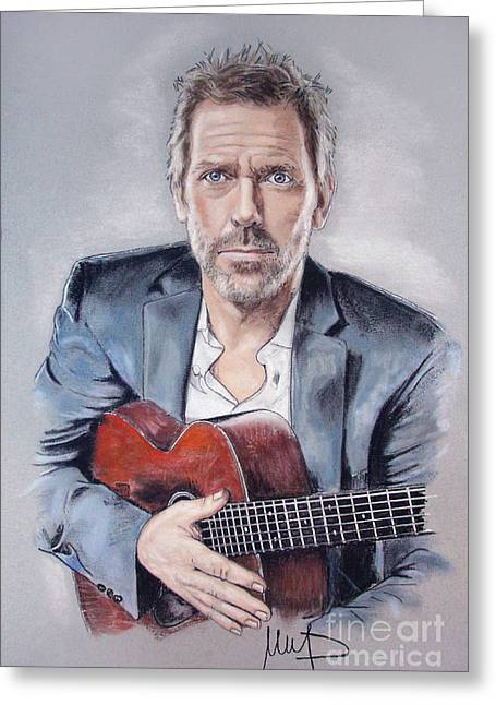 D Pastels Greeting Cards - Hugh Laurie Greeting Card by Melanie D