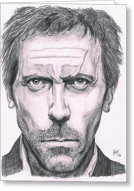 British Portraits Greeting Cards - Hugh Laurie Greeting Card by Ryan Jacobson