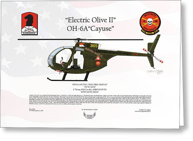 Oh-6a Greeting Cards - Hughes OH-6A Cayuse Electric Olive II Greeting Card by Arthur Eggers