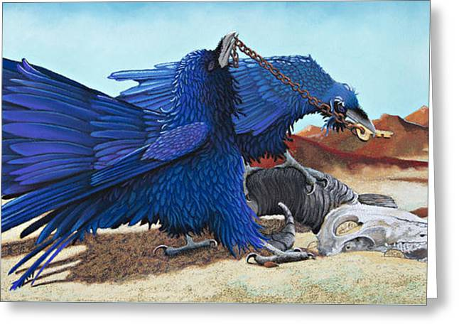 World Pastels Greeting Cards - Huginn and Muninn Greeting Card by Tracy L Teeter