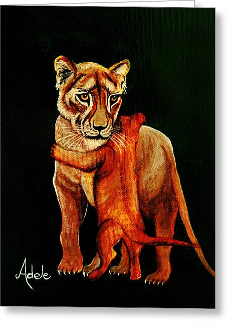 Lioness Greeting Cards - Hugs Greeting Card by Adele Moscaritolo