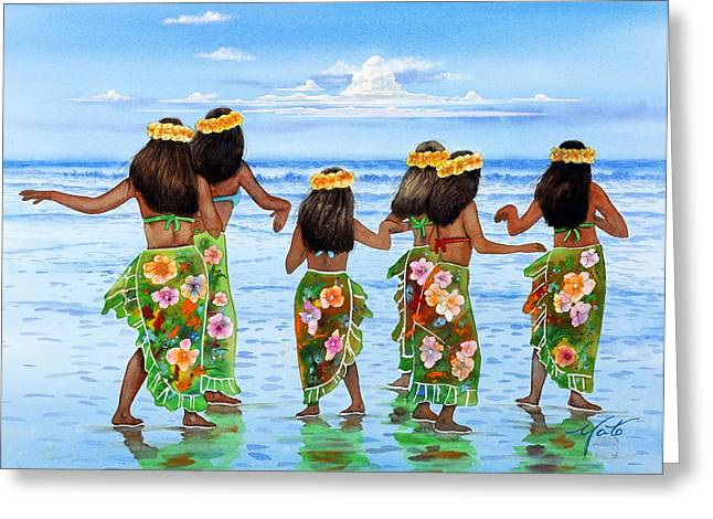 Dancer Art Greeting Cards - Hula Dancers Hawaii Greeting Card by John YATO