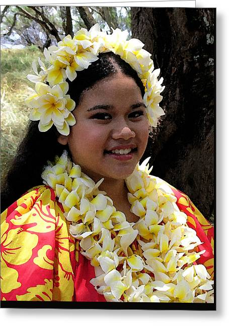 Jim Temple Greeting Cards - Hula Girl Greeting Card by James Temple