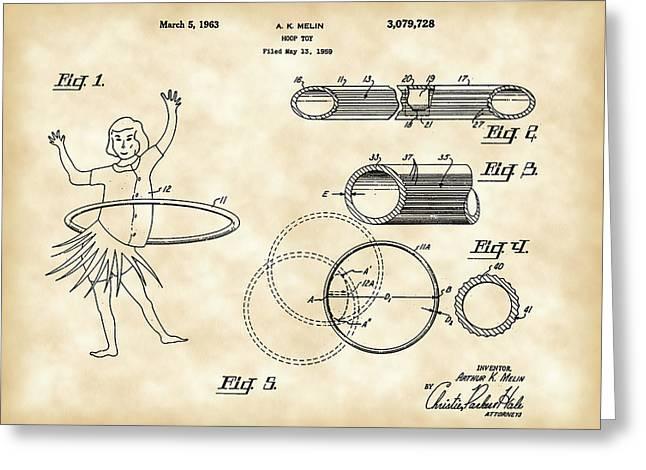 Hula Hoop Greeting Cards - Hula Hoop Patent 1959 - Vintage Greeting Card by Stephen Younts
