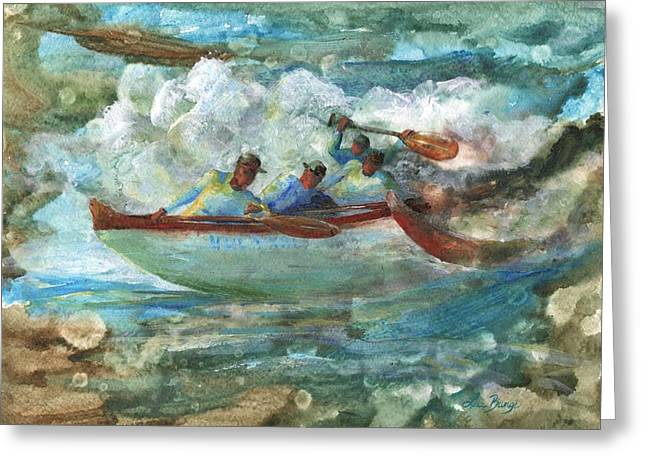 Canoe Paintings Greeting Cards - Hula Kai Greeting Card by Lisa Bunge