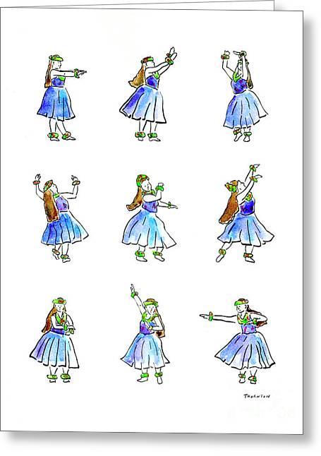 Hula Greeting Cards - Hula x 9 Greeting Card by Diane Thornton