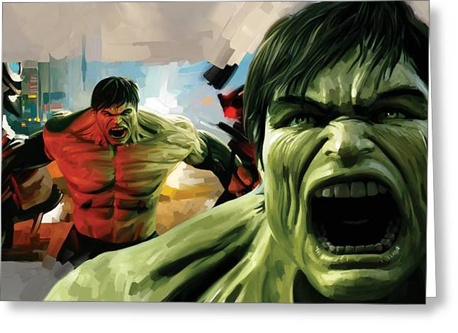 Movie Art Mixed Media Greeting Cards - Hulk Artwork Greeting Card by Sheraz A