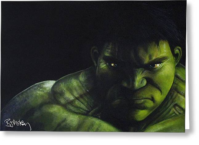 Marvel Comics Greeting Cards - Hulk Greeting Card by Barry Mckay