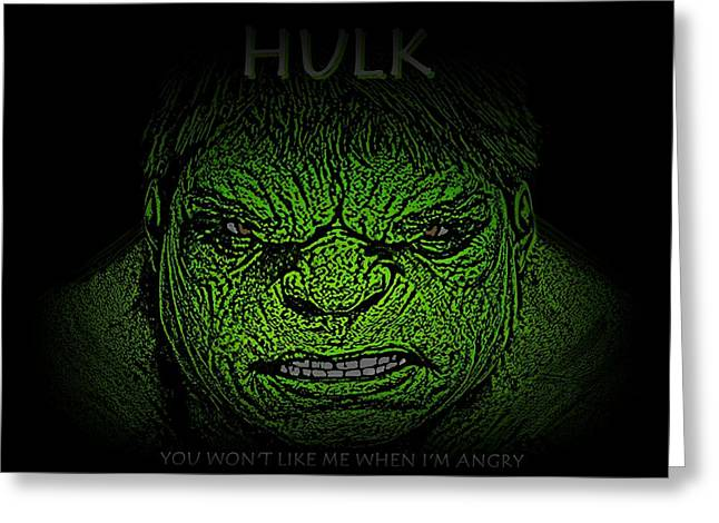 Bruce Banner Greeting Cards - Hulk Custom  Greeting Card by Movie Poster Prints