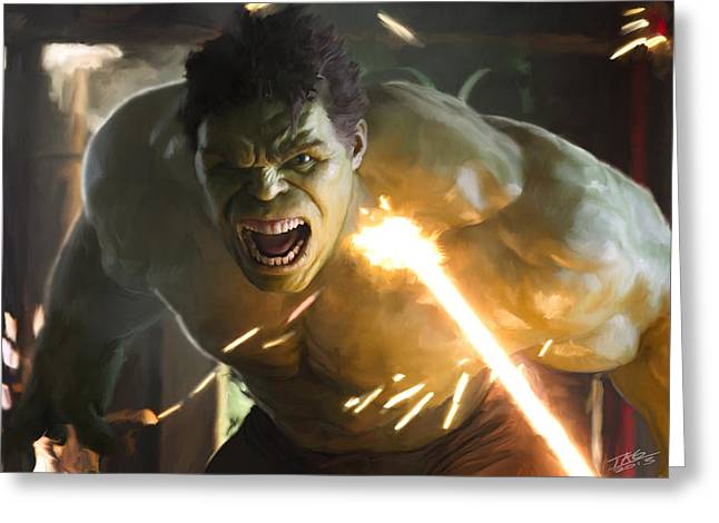 Black Widow Paintings Greeting Cards - Hulk Greeting Card by Paul Tagliamonte