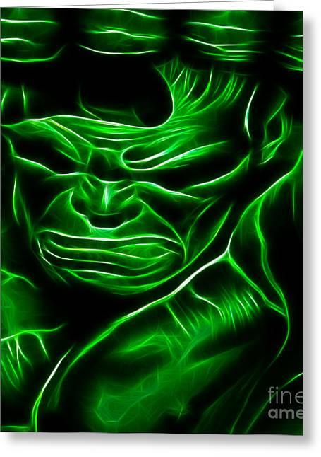 Basement Art Greeting Cards - Hulk Powerful Smash Greeting Card by Pamela Johnson