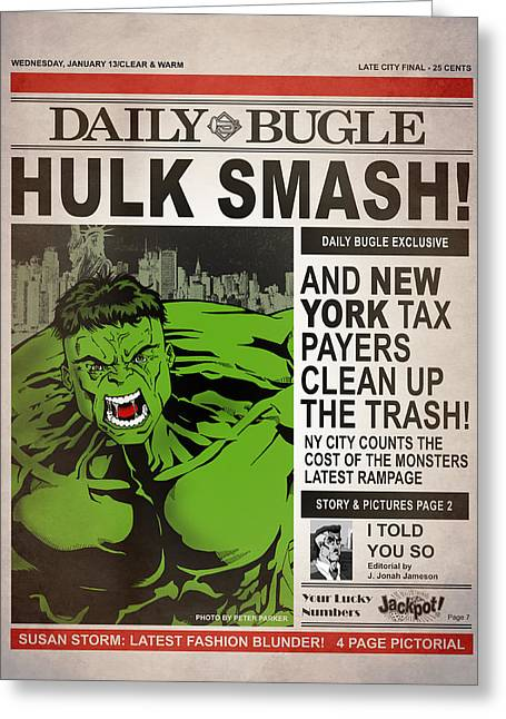Spider-man Greeting Cards - Hulk Smash - Daily Bugle Greeting Card by Mark Rogan