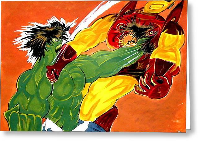 Superheroes Drawings Greeting Cards - HULK vs IRON MAN  Greeting Card by Jazzboy