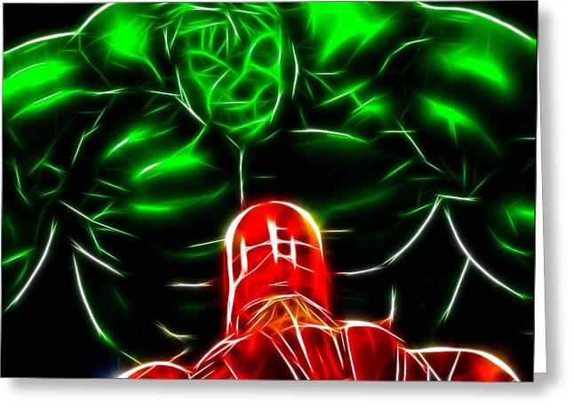 Thor Mixed Media Greeting Cards - Ironman Vs Hulk Greeting Card by Pamela Johnson
