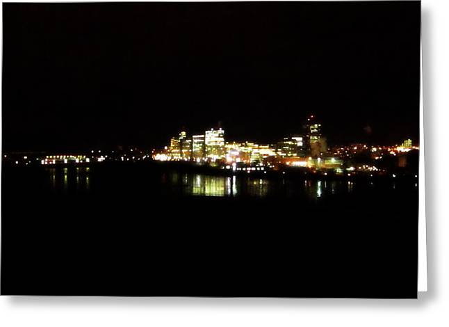 City Lights Pyrography Greeting Cards - Hull Quebec 2 Greeting Card by Abby Humphries