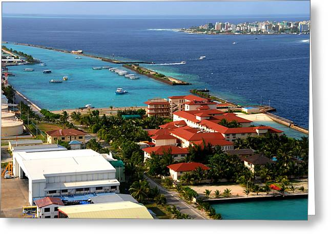 Worlds Population Greeting Cards - Hulule Airport and Capital Male. Maldives Greeting Card by Jenny Rainbow